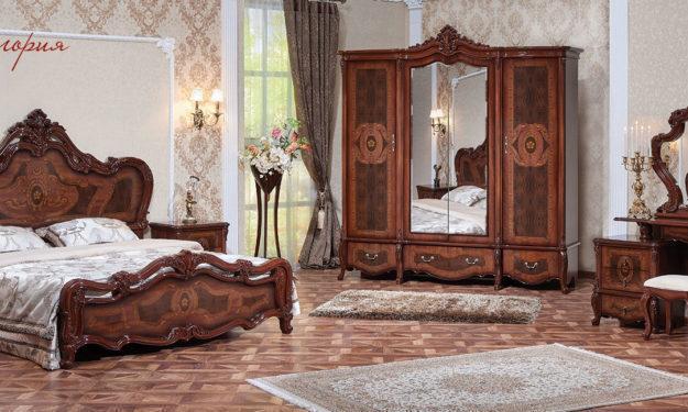 спальня виктория с 4х створчатым шкафом орех фарина шелкография
